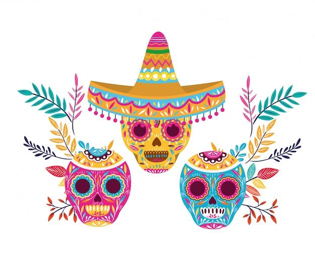 Mexikanischer schädel mit hut lokalisierter ikone