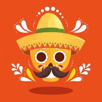 Mexikanischer schädel mit hut und schnurrbart