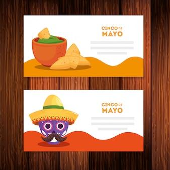 Mexikanischer schädel mit hutschale und nachos von cinco de mayo