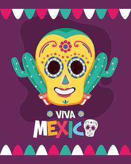 Mexikanischer schädel mit kaktus