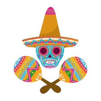 Mexikanischer schädel mit maraca lokalisierte ikone