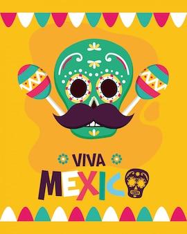 Mexikanischer schädel mit maracas