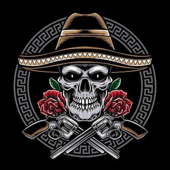 Mexikanischer schädel mit pistole lokalisiert auf schwarz