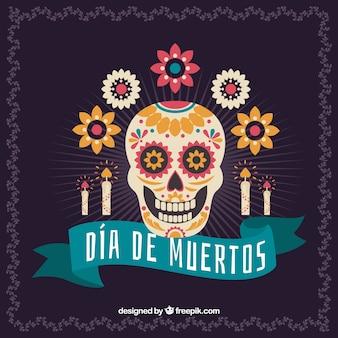 Mexikanischer schädel schädel hintergrund mit kerzen