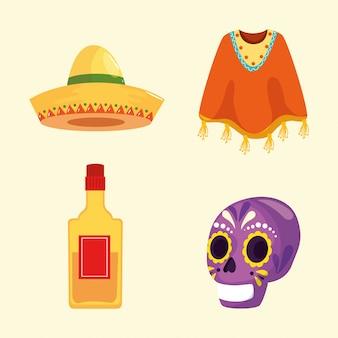 Mexikanischer schädel tequila flasche poncho und hut