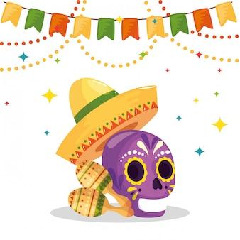 Mexikanischer schädelhut und maracas