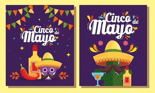Mexikanischer schädelkaktus mit hut und tequila-flasche cinco de mayo