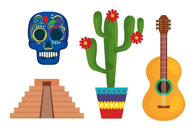 Mexikanischer schädelpyramidenkaktus und gitarre