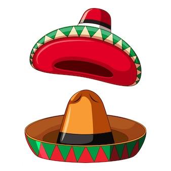 Mexikanischer sombrero auf weißem hintergrund