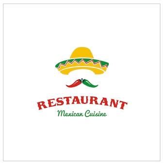 Mexikanischer sombrero mit chili für taco restaurant