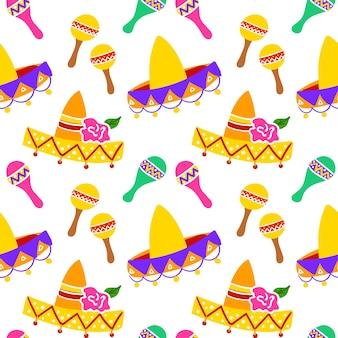 Mexikanischer sombrero-nahtloses muster. vektor-illustration des feiertags-hintergrundes.