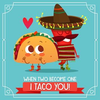 Mexikanischer taco-hintergrund mit liebeszitat