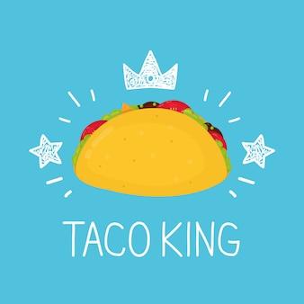 Mexikanischer taco mit sternen und krone