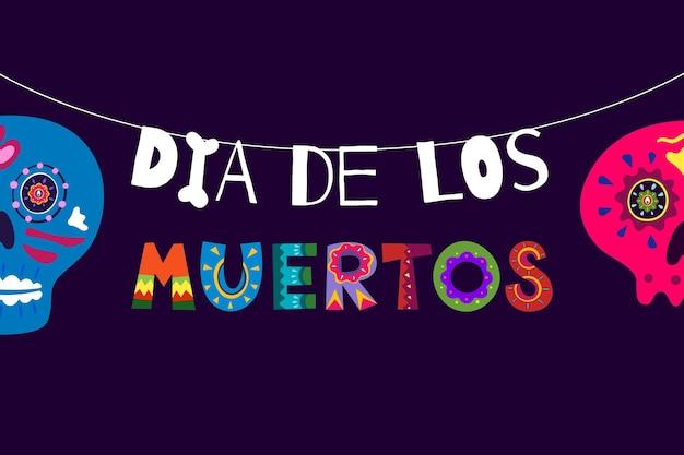 Mexikanischer tag der toten dia de los muertos buntes plakat. mexiko-nationalfestival-grußkarte mit handgezeichneter dekorationsschrift und zuckerschädel auf dunklem hintergrund. vektorillustrationsbanner