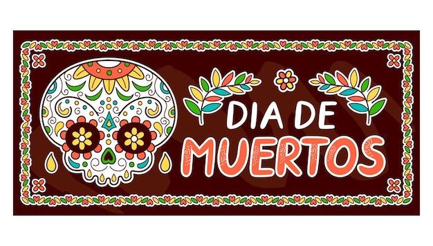 Mexikanischer tag der toten, dia de muertos konzept. vektor flache linie karikatur kawaii charakter illustration symbol. mexikanischer dia de muertos
