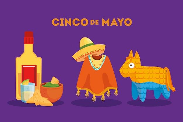 Mexikanischer tequila-flaschen-poncho-hut und pinata von cinco de mayo