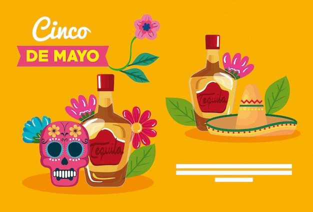 Mexikanischer tequila flaschen schädel und hut von cinco de mayo