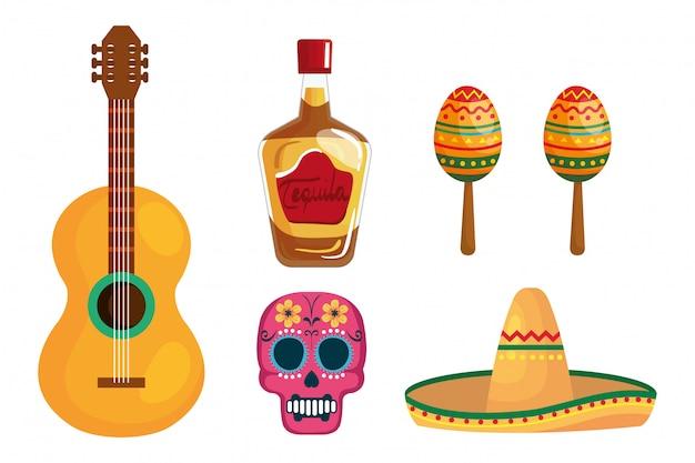 Mexikanischer tequila flaschengitarrenschädelhut und maracas
