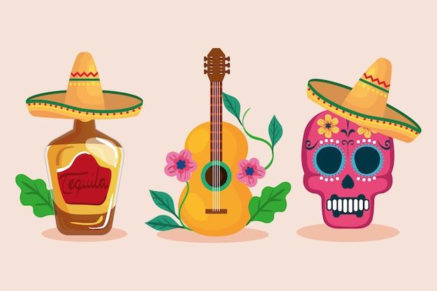 Mexikanischer tequila-flaschenschädel mit hut und gitarre