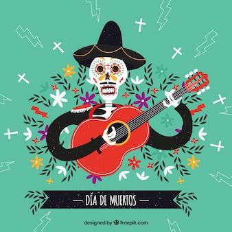 Mexikanischer tod spielt gitarre