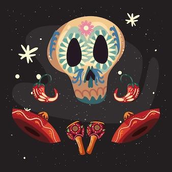 Mexikanischer totenkopf mit hüten und maracas