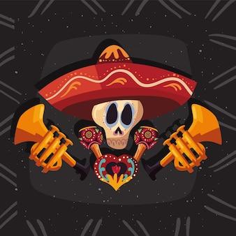 Mexikanischer totenkopf mit hut und trompeten