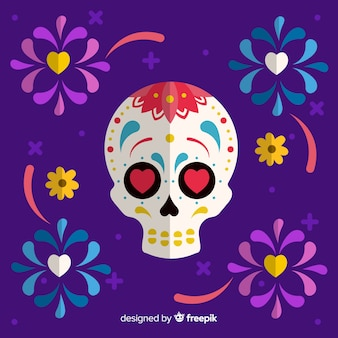 Mexikanischer Totenkopfhintergrund bunten día de Muertos mit Schlag im flachen Design