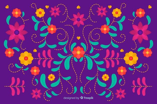 Mexikanischer traditioneller blumenstickereihintergrund
