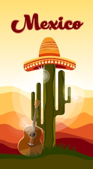 Mexikanischer traditioneller hut sombrero-gitarren-kaktus-sonnenuntergang mexiko