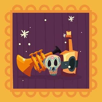 Mexikanischer trompetenschädel und tequila
