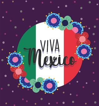 Mexikanischer unabhängigkeitstag, fahnenblumenfahne, viva mexico wird auf septemberillustration gefeiert