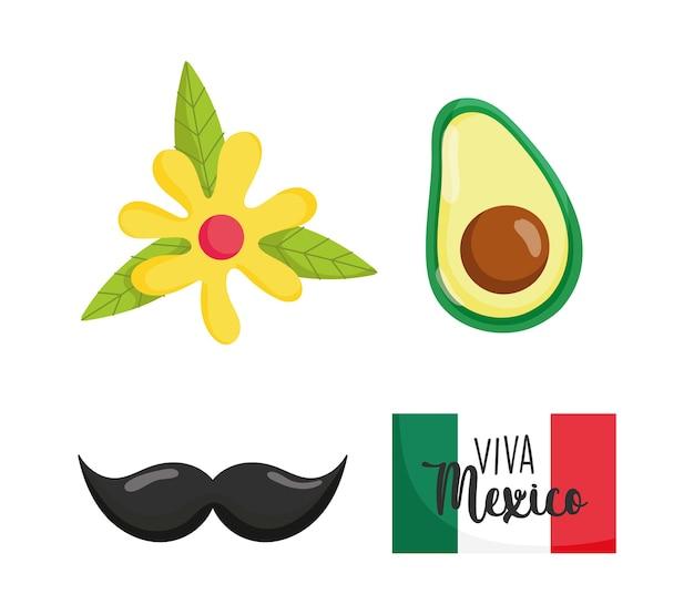 Mexikanischer unabhängigkeitstag, flagge avocadoblume und schnurrbart, viva mexico wird auf septemberillustration gefeiert