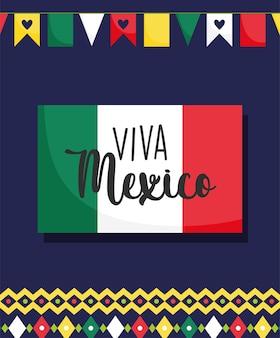 Mexikanischer unabhängigkeitstag, flaggenwimpeldekorationsbanner, viva mexico wird auf septemberillustration gefeiert