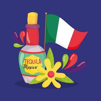 Mexikanischer unabhängigkeitstag, flasche tequila blume und flagge, viva mexiko wird auf septemberillustration gefeiert