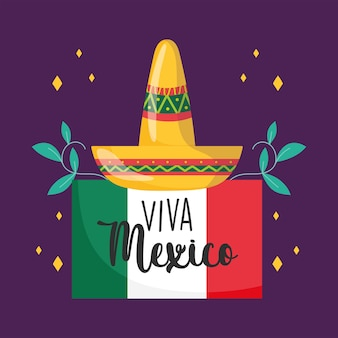 Mexikanischer unabhängigkeitstag, hutflaggenblumendekoration, viva mexico wird auf septemberillustration gefeiert
