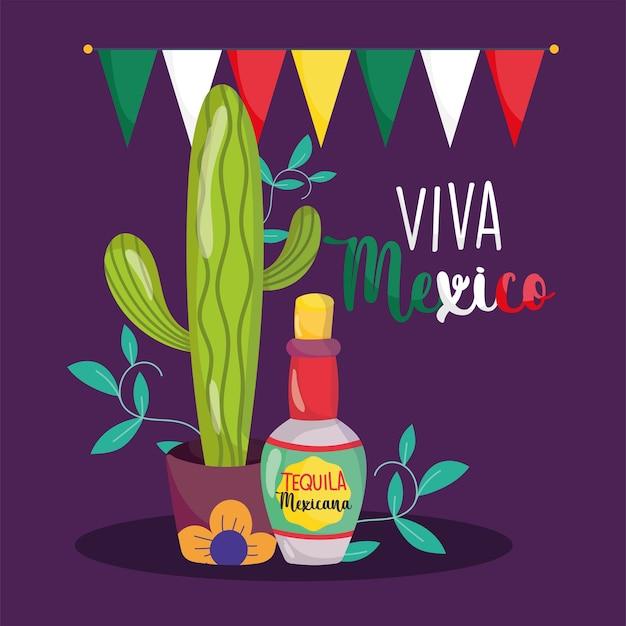 Mexikanischer unabhängigkeitstag, kaktus-tequila-flaschenflaggendekoration, viva mexico wird auf septemberillustration gefeiert