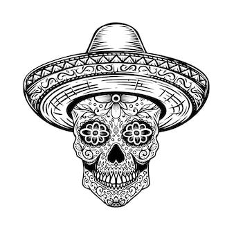 Mexikanischer zuckerschädel im sombrero. tag des toten themas. gestaltungselement für poster, t-shirt, emblem, zeichen. vektor-illustration
