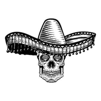 Mexikanischer zuckerschädel im sombrero. tag des toten themas. gestaltungselement für poster, t-shirt, emblem, zeichen.