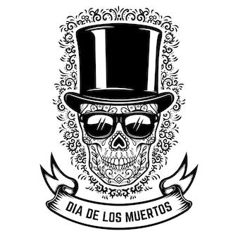 Mexikanischer zuckerschädel im weinlesehut und in der sonnenbrille mit blumenmusterhintergrund. tag der toten.