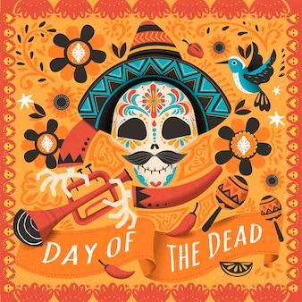Mexikanischer zuckerschädel mit instrument