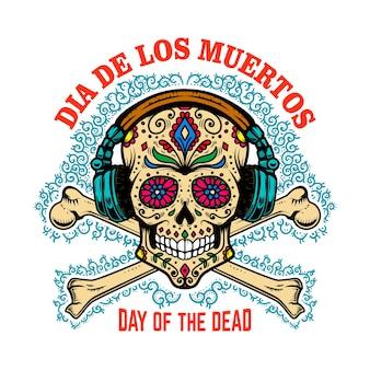 Mexikanischer zuckerschädel mit kopfhörern und gekreuzten knochen. tag der toten.