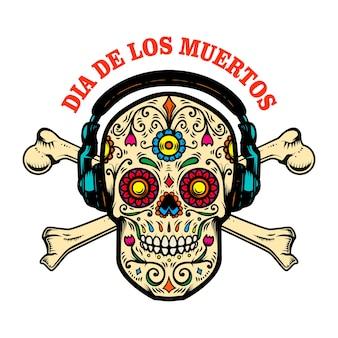 Mexikanischer zuckerschädel mit kopfhörern und gekreuzten knochen.