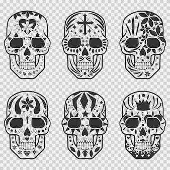 Mexikanischer zuckerschädel schwarzer silhouette eingestellt. gestaltungselemente für feiertagstag der toten, halloween, partei und tätowierung lokalisiert auf transparentem hintergrund.