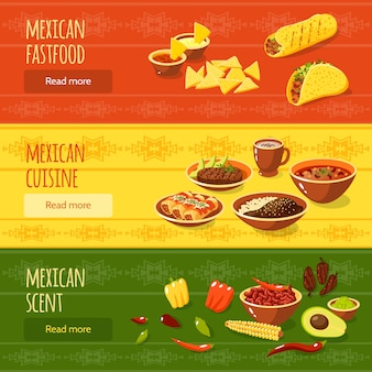 Mexikanisches essen banner set