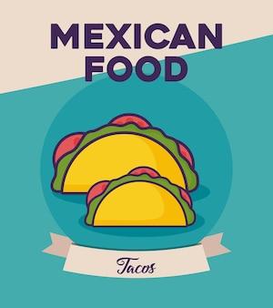 Mexikanisches essen design mit tacos