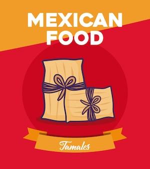 Mexikanisches essen design mit tamales