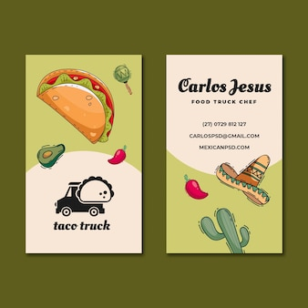 Mexikanisches essen doppelseitige visitenkarte