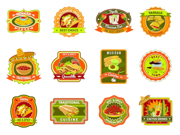 Mexikanisches essen emblem set