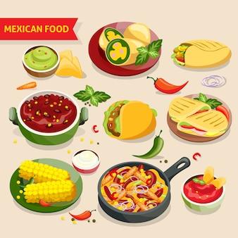 Mexikanisches essen gesetzt