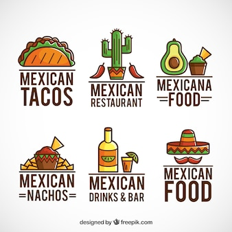 Mexikanisches essen logos sammlung mit outline